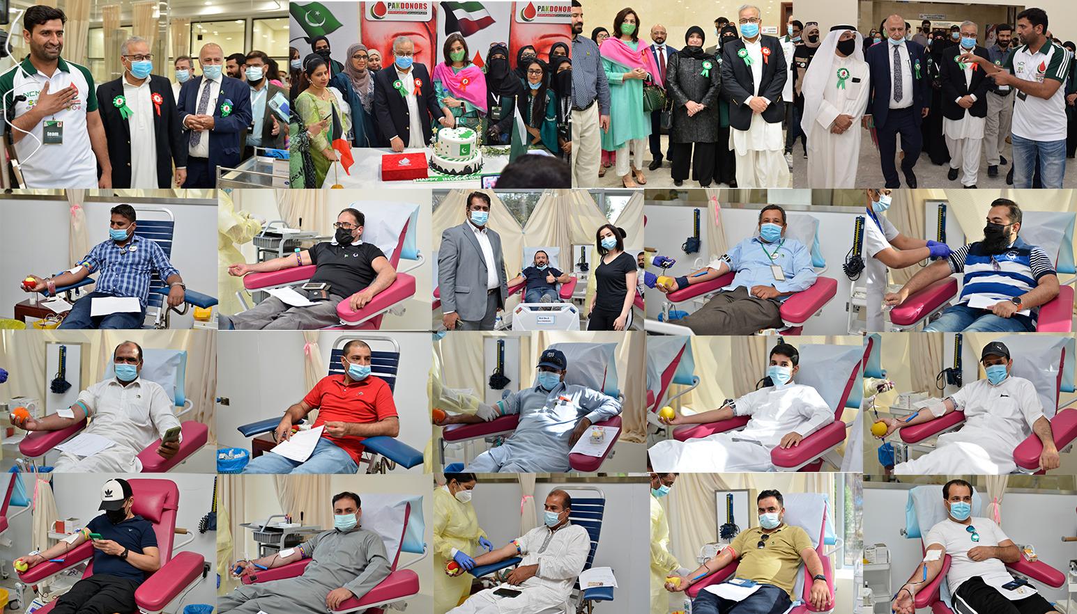 کویت میں جشن آزادی پر خون کے عطیہ کا کیمپ